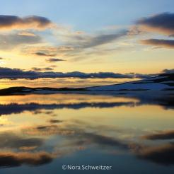 Coucher de soleil sur la route entre Egilsstaðir et Seyðisfjörður