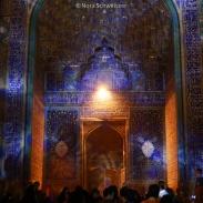 Sur la place Naghsh-e Jahan de nuit