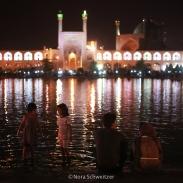 La place Naghsh-e Jahan à Ispahan de nuit