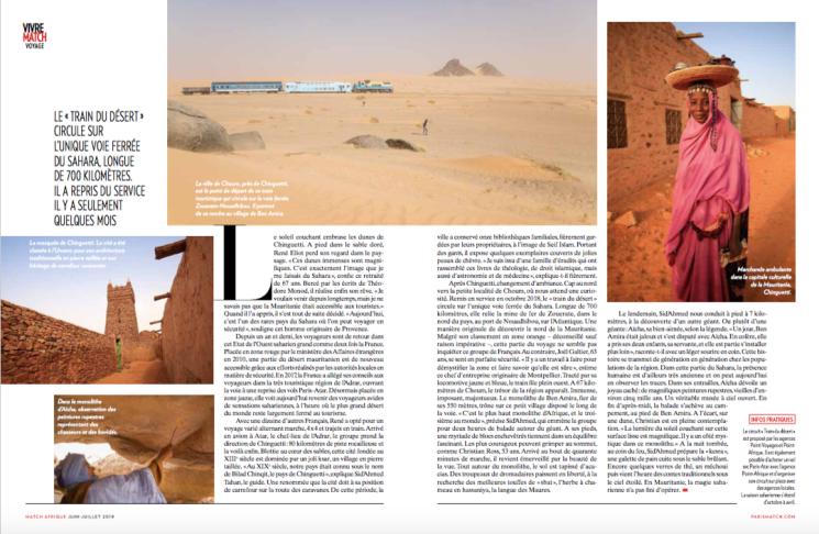 """L'article """"Trésors du Sahara"""" dans Paris Match Afrique"""